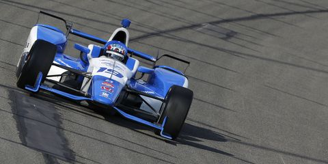 IndyCar driver Tristan Vautier struck a crew member during Saturday's race in Fontana. The crew member, Oren Trower, is expected to recover.