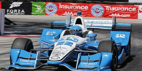 Team Penske driver Simon Pagenaud won his first IndyCar race on Sunday at Long Beach.