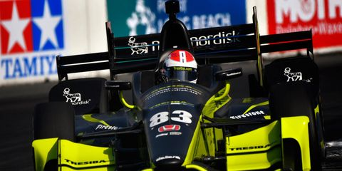 Charlie Kimball, above, begs to differ with Will Power's assessment after Sunday's race at Long Beach.