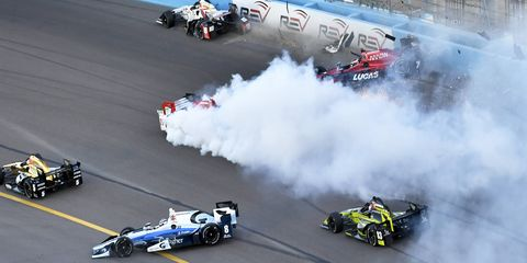 A crash erupted in turn one of Saturday night's Desert Diamond West Valley Phoenix Grand Prix, when Mikhail Aleshin spun in turn one of the opening lap of the race. Graham Rahal then slammed into Marco Andretti and Max Chilton. Sébastien Bourdais also suffered serious damage to his Honda. Ryan Hunter-Reay's Honda was also hit, but he was able to continue in the field.