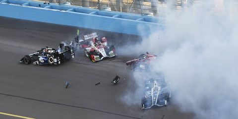 In his eighth Indy car season and 105th race, Team Penske's Simon Pagenaud found victory lane on an oval. By taking the checkered flag in the Desert Diamond West Valley Phoenix Grand Prix at Phoenix Raceway, Pagenaud (No. 1 Menards Team Penske Chevrolet) scored his 10th career Indy car win and the 189th in the illustrious history of Team Penske. Pagenaud's teammate Will Power (No. 12 Verizon Chevrolet) followed the Frenchman across the line by 9.1028 seconds, with Ed Carpenter Racing's JR Hildebrand (No. 21 Fuzzy's Vodka Chevrolet) rounding out the podium.