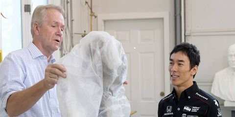 2017 Indianapolis 500 winner Takuma Sato visits William Behrends' studio in Tryon, North Carolina to check out the progress of his likeness that will be going on the Borg-Warner Trophy.