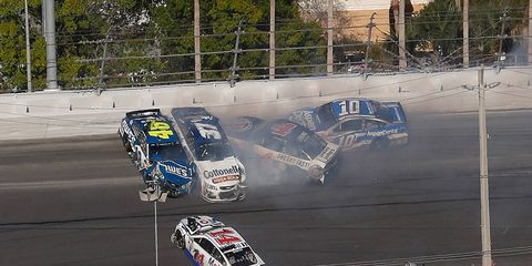 Danica Patrick (10) was one of the cars in the wrong place at the wrong time at Daytona International Speedway on Sunday.