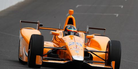 Fernando Alonso took his first test laps at the Indianapolis Motor Speedway on Wednesday.