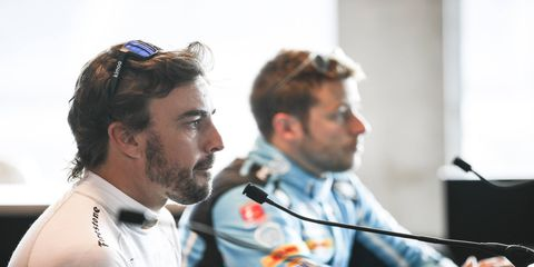 A mechanical issue had cost Fernando Alonso a chance to draft with fellow Andretti Autosport driver Marco Andretti.