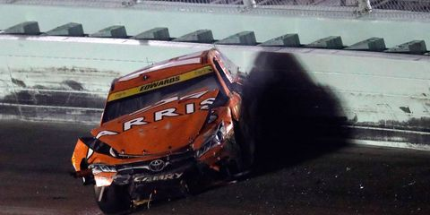 Carl Edwards' NASCAR Sprint Cup season and championship hopes ended with a crash on Sunday.