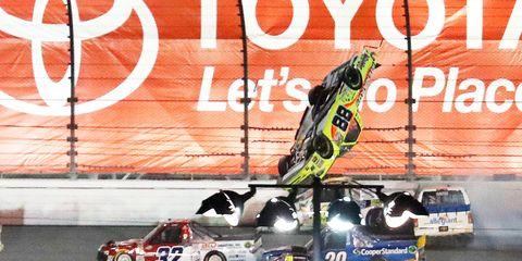 Matt Crafton flips on the final lap at Daytona Friday night. He was uninjured.