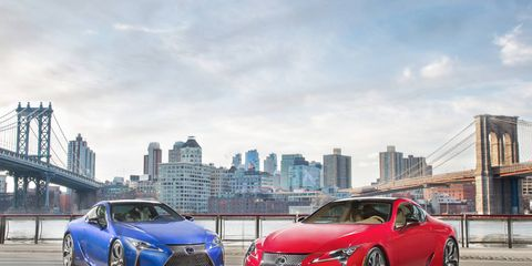 The 2018 Lexus LC500 looks striking on the road.