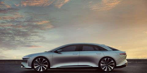 """The Lucid Air is scheduled to arrive in 2019 with an optional 130 kWh battery good for a claimed 400-mile range. Zero to 60 will come up in 2.5 seconds, and top speed will be """"over 200 mph."""" The interior's nice, too."""
