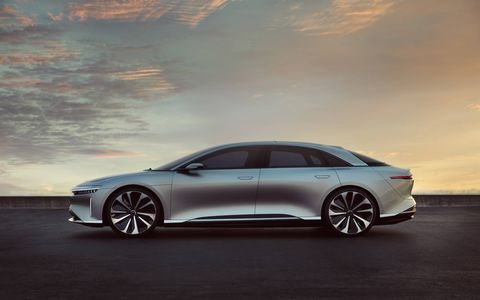 "The Lucid Air is scheduled to arrive in 2019 with an optional 130 kWh battery good for a claimed 400-mile range. Zero to 60 will come up in 2.5 seconds, and top speed will be ""over 200 mph."" The interior's nice, too."