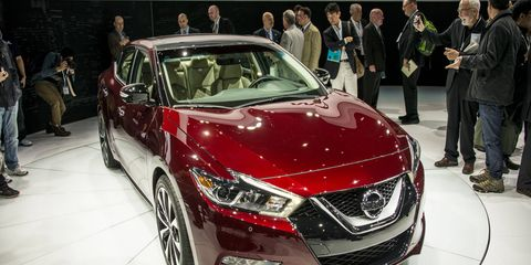 The 2016 Maxima made its debut at the New York auto show on Thursday.