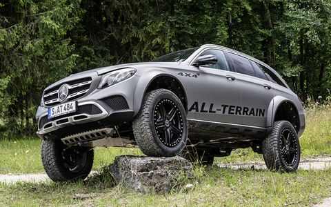 The E400 All Terrain 4x4-squared features portal axles and a 17-inch ground clearance, among other off-roading goodies.