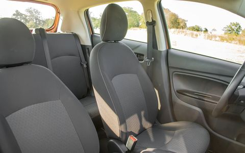 The Mirage offers a reasonably equipped interior with a lot of equipment at the top of the trim range.