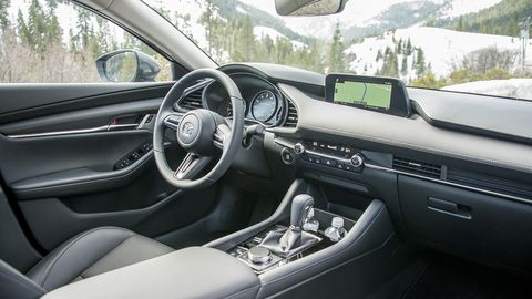The interior of the Mazda3 offers impressive ergonomics along with a muted but elegant design.