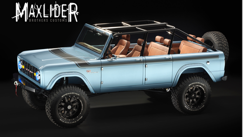 Erik and Kris Barnlund - the Maxlider Bros., are right now driving from Chicago to Las Vegas hauling this magnificent four-door, three-row, six-seat Bronco to the show. It's built on a stretched 1966 EB (early Bronco). If you're going to SEMA, look for it at the Yukon Gear & Axle booth, #20149.