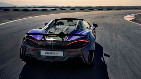 The McLaren 600LT Spider houses a 3.8-liter twin-turbo V8 making 592 hp and 457 lb-ft of torque.