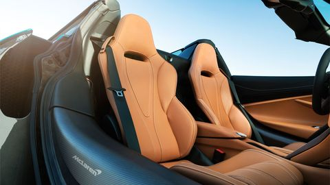 The 2020 McLaren 720S Spider comes with an electrochromic glass roof that darkens with the push of a button.