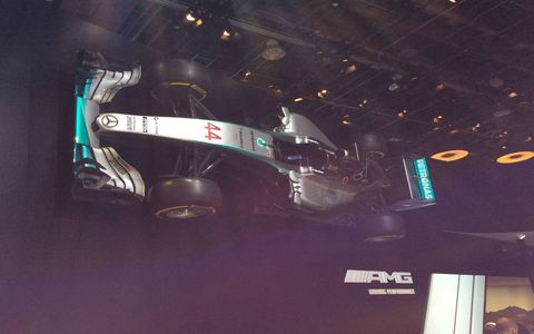 A replica of Lewis Hamilton's Mercedes F1 car.