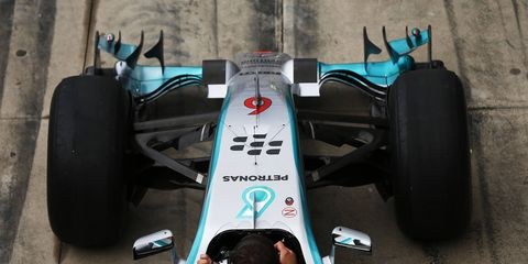 Front wing of Lewis Hamilton's Mercedes Formula One car. Mercedes F1 and Scuderia Ferrari both have noses that almost meet the FIA's new 2015 regulations, unlike the rest of the field.