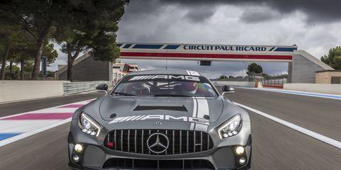 Mercedes AMG GT4 Racecar On Circuit Paul Ricard