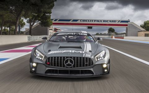 Mercedes AMG GT4 Racecar On Circuit Paul Ricard