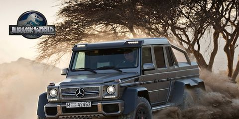 Different Mercedes vehicles, including the G63 AMG 6x6, will make appearances in the new movie, Jurassic World.