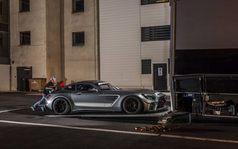 Mercedes AMG GT4 Racecar and the Work Surrounding it