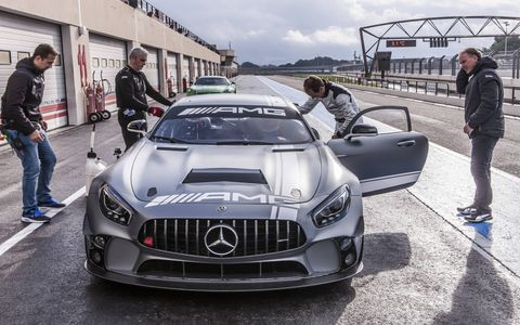 Mercedes AMG GT4 Racer Preparing to Drive it