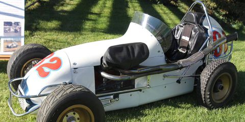 A Harry Turner-built 1969 midget racer (photos of the indoor BCRA races McCluggage mentions are tough to find).