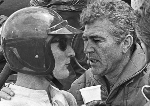 "Shelby tells leader Ken Miles to slow down to let the other Fords catch up for a ""photo finish,"" resulting in the most controversial finish in Le Mans history, which many argue stole the race victory from Miles and co-driver Denis Hulme."