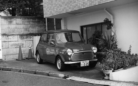 I picked up a perfect 1954 Ricohflex VII film camera in a Shinjuku camera and used it to photograph this Austin Mini survivor.