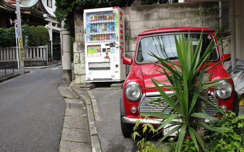From left to right: the Hirata Shrine in Shibuya, Kirin vending machine, daily-driver Austin Mini.