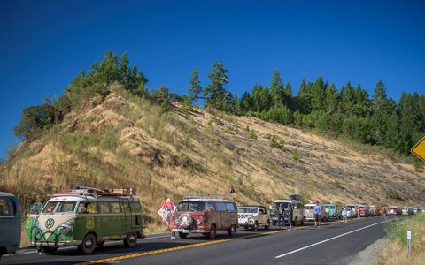"Treffen is the German word for ""Meet"" and for the last 18 years a company specializing in parts for air-cooled Volkswagens has held a Treffen that runs from Canada to Mexico for any and all air-cooled VWs that want to join in. ""For ten miles or ten days,"" they say."