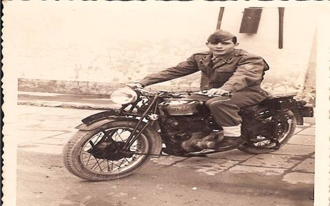 The senior Tallini on a motorcycle post-war. It's not a Moto Guzzi Airone, but it's of the same time period as the bike he's getting Sunday for Father's Day.