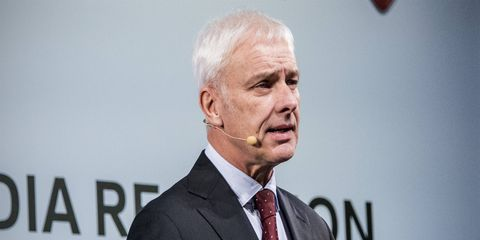 VW CEO Matthias Mueller, who replaced Dr. Martin Winterkorn, speaks to the media