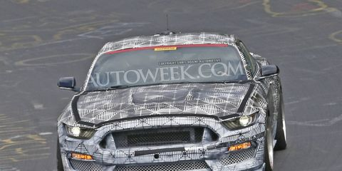 The Ford Mustang SVT is seen testing at the Nurburgring in these spy photos.