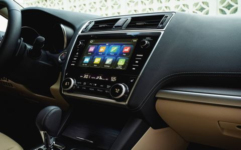 This is the interior of the 2018 Subaru Legacy.