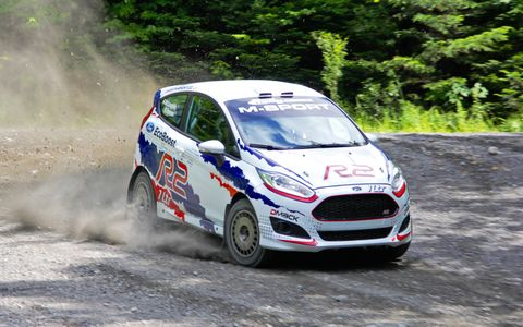 Brendan Reeves negotiates a right-left transition corner in the angry sounding three-cylinder EcoBoost M-Sport Fiesta R2.