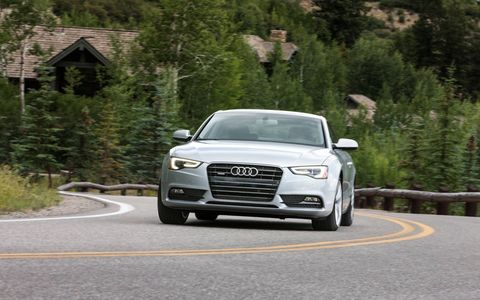 Quattro all-wheel drive is standard; all you do when you go to build your A5 is decide whether you want the eight-speed automatic or the six-speed manual, and what trim level you want.