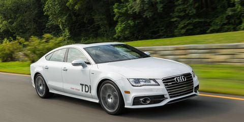 The A7 TDI gets a 3.0-liter diesel engine making 240 hp and 428 lb-ft of torque. A 2015 model is shown.