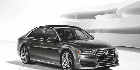 The bigger air intakes and lower front bumper really do help this Audi A8 look like a hard-hitting performance sedan.