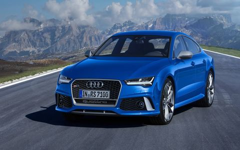 RS 7 performance shares the S8 plus' 4.0-liter V8 and overboost. Top speed is 190 mph. (The European model is shown here.)