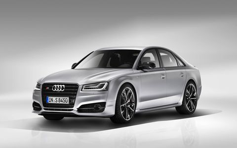The V8 on the S8 plus is updated and now cranks out 605 hp (up 85 hp) and 516 lb-ft while an extra 73 lb-ft is available through overboost. (The European model is shown here.)