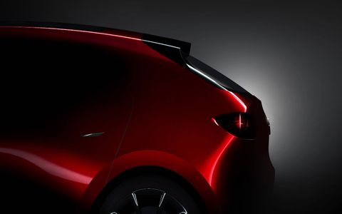 More chiseled creases help offset some of the curvature of Mazda's Kodo design language on the next-generation concept hatchback.