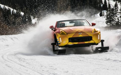 Nissan slapped some skis on the front and tracks on the back of a Nissan 370Z and let it rip around in the snow.