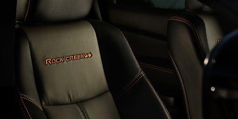 The 2019 Nissan Pathfinder Rock Creek Edition Interior. Two-tones: grey and black.