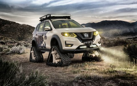 The Nissan Rogue Trail Warrior trades wheels and tires for tracks.