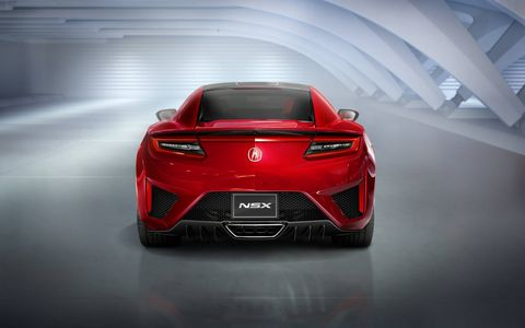 The design of the tail lights on the 2016 Acura NSX hark back to the original car.