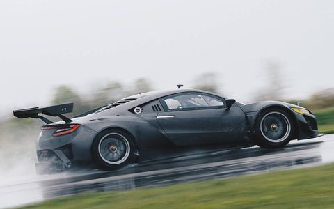 Acura dropped the hybrid drive system but added a massive wing to the carbon-fiber-clad NSX GT3 racer.