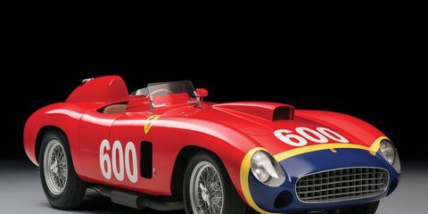 """This 1956 Ferrari 290 MM by Scaglietti was one of four built; it was made specifically for Juan Manuel Fangio, who drove it to fourth place in the 1956 Mille Miglia. It will be sold at RM Sotheby's Dec. 10 """"Driven by Disruption"""" auction in New York City."""
